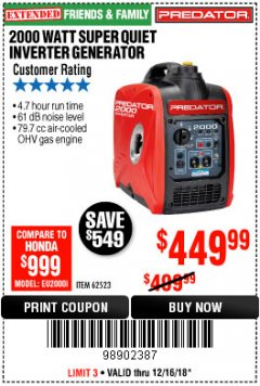 Harbor Freight Coupon 2000 PEAK / 1600 RUNNING WATTS 2.8 HP (79.7 CC) PORTABLE INVERTER GENERATOR Lot No. 62523 Expired: 12/16/18 - $449.99