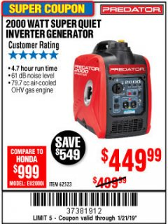 Harbor Freight Coupon 2000 PEAK / 1600 RUNNING WATTS 2.8 HP (79.7 CC) PORTABLE INVERTER GENERATOR Lot No. 62523 Expired: 1/21/19 - $449.99