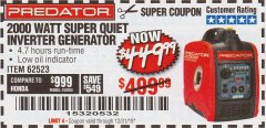 Harbor Freight Coupon 2000 PEAK / 1600 RUNNING WATTS 2.8 HP (79.7 CC) PORTABLE INVERTER GENERATOR Lot No. 62523 Expired: 12/31/19 - $449.99