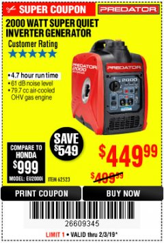 Harbor Freight Coupon 2000 PEAK / 1600 RUNNING WATTS 2.8 HP (79.7 CC) PORTABLE INVERTER GENERATOR Lot No. 62523 Expired: 2/3/19 - $449.99