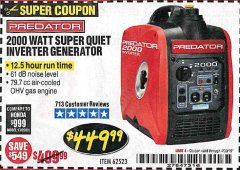 Harbor Freight Coupon 2000 PEAK / 1600 RUNNING WATTS 2.8 HP (79.7 CC) PORTABLE INVERTER GENERATOR Lot No. 62523 Expired: 4/30/19 - $449.99