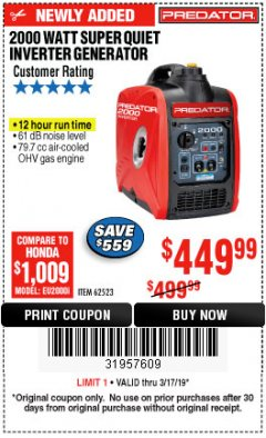 Harbor Freight Coupon 2000 PEAK / 1600 RUNNING WATTS 2.8 HP (79.7 CC) PORTABLE INVERTER GENERATOR Lot No. 62523 Expired: 3/17/19 - $449.99