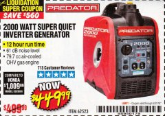 Harbor Freight Coupon 2000 PEAK / 1600 RUNNING WATTS 2.8 HP (79.7 CC) PORTABLE INVERTER GENERATOR Lot No. 62523 Expired: 5/31/19 - $449.99