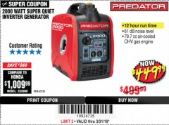 Harbor Freight Coupon 2000 PEAK / 1600 RUNNING WATTS 2.8 HP (79.7 CC) PORTABLE INVERTER GENERATOR Lot No. 62523 Expired: 3/31/19 - $449.99