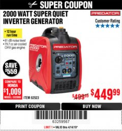 Harbor Freight Coupon 2000 PEAK / 1600 RUNNING WATTS 2.8 HP (79.7 CC) PORTABLE INVERTER GENERATOR Lot No. 62523 Expired: 4/14/19 - $449.99