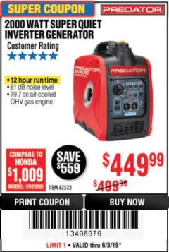 Harbor Freight Coupon 2000 PEAK / 1600 RUNNING WATTS 2.8 HP (79.7 CC) PORTABLE INVERTER GENERATOR Lot No. 62523 Expired: 6/30/19 - $449.99