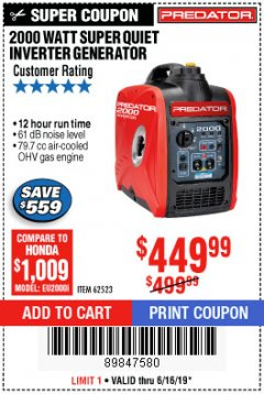 Harbor Freight Coupon 2000 PEAK / 1600 RUNNING WATTS 2.8 HP (79.7 CC) PORTABLE INVERTER GENERATOR Lot No. 62523 Expired: 6/16/19 - $449.99