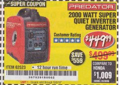 Harbor Freight Coupon 2000 PEAK / 1600 RUNNING WATTS 2.8 HP (79.7 CC) PORTABLE INVERTER GENERATOR Lot No. 62523 Expired: 10/9/19 - $449.99