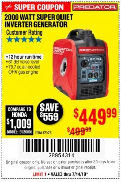 Harbor Freight Coupon 2000 PEAK / 1600 RUNNING WATTS 2.8 HP (79.7 CC) PORTABLE INVERTER GENERATOR Lot No. 62523 Expired: 7/14/19 - $449.99