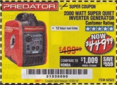 Harbor Freight Coupon 2000 PEAK / 1600 RUNNING WATTS 2.8 HP (79.7 CC) PORTABLE INVERTER GENERATOR Lot No. 62523 Expired: 10/30/19 - $449.99