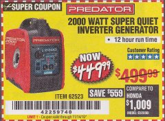 Harbor Freight Coupon 2000 PEAK / 1600 RUNNING WATTS 2.8 HP (79.7 CC) PORTABLE INVERTER GENERATOR Lot No. 62523 Expired: 7/31/19 - $449.99