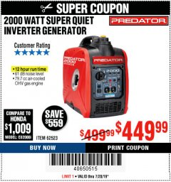 Harbor Freight Coupon 2000 PEAK / 1600 RUNNING WATTS 2.8 HP (79.7 CC) PORTABLE INVERTER GENERATOR Lot No. 62523 Expired: 7/28/19 - $449.99