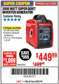 Harbor Freight Coupon 2000 PEAK / 1600 RUNNING WATTS 2.8 HP (79.7 CC) PORTABLE INVERTER GENERATOR Lot No. 62523 Expired: 8/26/19 - $449.99