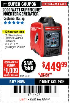 Harbor Freight Coupon 2000 PEAK / 1600 RUNNING WATTS 2.8 HP (79.7 CC) PORTABLE INVERTER GENERATOR Lot No. 62523 Expired: 9/2/19 - $449.99
