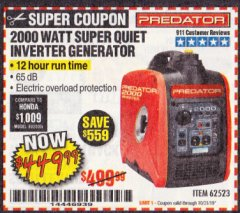 Harbor Freight Coupon 2000 PEAK / 1600 RUNNING WATTS 2.8 HP (79.7 CC) PORTABLE INVERTER GENERATOR Lot No. 62523 Expired: 10/31/19 - $449.99