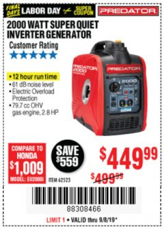Harbor Freight Coupon 2000 PEAK / 1600 RUNNING WATTS 2.8 HP (79.7 CC) PORTABLE INVERTER GENERATOR Lot No. 62523 Expired: 9/8/19 - $449.99