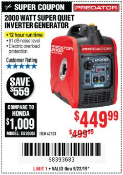 Harbor Freight Coupon 2000 PEAK / 1600 RUNNING WATTS 2.8 HP (79.7 CC) PORTABLE INVERTER GENERATOR Lot No. 62523 Expired: 9/22/19 - $449.99