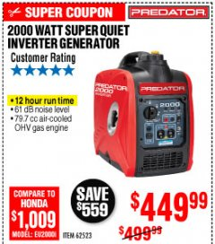 Harbor Freight Coupon 2000 PEAK / 1600 RUNNING WATTS 2.8 HP (79.7 CC) PORTABLE INVERTER GENERATOR Lot No. 62523 Expired: 10/4/19 - $449.99