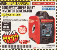 Harbor Freight Coupon 2000 PEAK / 1600 RUNNING WATTS 2.8 HP (79.7 CC) PORTABLE INVERTER GENERATOR Lot No. 62523 Expired: 11/30/19 - $449.99