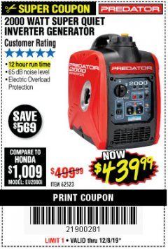 Harbor Freight Coupon 2000 PEAK / 1600 RUNNING WATTS 2.8 HP (79.7 CC) PORTABLE INVERTER GENERATOR Lot No. 62523 Expired: 12/8/19 - $439.99