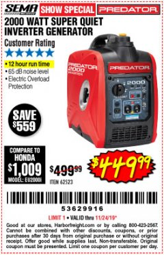 Harbor Freight Coupon 2000 PEAK / 1600 RUNNING WATTS 2.8 HP (79.7 CC) PORTABLE INVERTER GENERATOR Lot No. 62523 Expired: 11/24/19 - $449.99