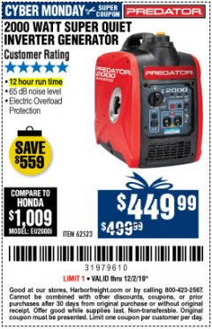 Harbor Freight Coupon 2000 PEAK / 1600 RUNNING WATTS 2.8 HP (79.7 CC) PORTABLE INVERTER GENERATOR Lot No. 62523 Expired: 12/1/19 - $449.99