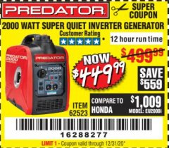 Harbor Freight Coupon 2000 PEAK / 1600 RUNNING WATTS 2.8 HP (79.7 CC) PORTABLE INVERTER GENERATOR Lot No. 62523 Expired: 12/31/20 - $449.99
