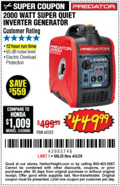 Harbor Freight Coupon 2000 PEAK / 1600 RUNNING WATTS 2.8 HP (79.7 CC) PORTABLE INVERTER GENERATOR Lot No. 62523 Expired: 6/30/20 - $449.99