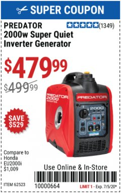 Harbor Freight Coupon 2000 PEAK / 1600 RUNNING WATTS 2.8 HP (79.7 CC) PORTABLE INVERTER GENERATOR Lot No. 62523 Expired: 7/5/20 - $479.99