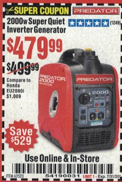Harbor Freight Coupon 2000 PEAK / 1600 RUNNING WATTS 2.8 HP (79.7 CC) PORTABLE INVERTER GENERATOR Lot No. 62523 Expired: 7/31/20 - $479.99