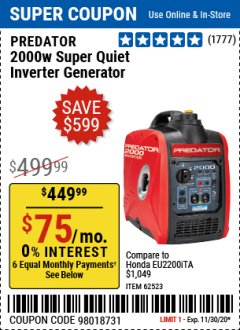 Harbor Freight Coupon 2000 PEAK / 1600 RUNNING WATTS 2.8 HP (79.7 CC) PORTABLE INVERTER GENERATOR Lot No. 62523 Expired: 11/30/20 - $449.99