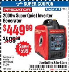 Harbor Freight Coupon 2000 PEAK / 1600 RUNNING WATTS 2.8 HP (79.7 CC) PORTABLE INVERTER GENERATOR Lot No. 62523 Expired: 12/15/20 - $449.99