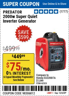 Harbor Freight Coupon 2000 PEAK / 1600 RUNNING WATTS 2.8 HP (79.7 CC) PORTABLE INVERTER GENERATOR Lot No. 62523 Expired: 12/3/20 - $449.99