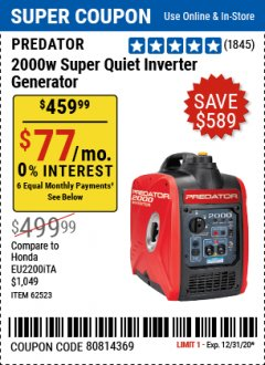 Harbor Freight Coupon 2000 PEAK / 1600 RUNNING WATTS 2.8 HP (79.7 CC) PORTABLE INVERTER GENERATOR Lot No. 62523 Expired: 12/31/20 - $459.99