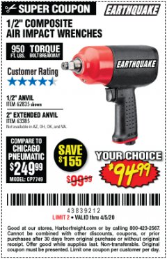 "Harbor Freight Coupon EARTHQUAKE 1/2"" COMPOSITE PRO IMPACT WRENCH Lot No. 62835 EXPIRES: 6/30/20 - $94.99"