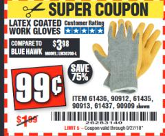 Harbor Freight Coupon HARDY LATEX COATED WORK GLOVES Lot No. 90909/61436/90912/61435/90913/61437 Expired: 8/27/18 - $0.99