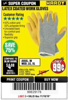 Harbor Freight Coupon HARDY LATEX COATED WORK GLOVES Lot No. 90909/61436/90912/61435/90913/61437 Expired: 11/18/18 - $0.99