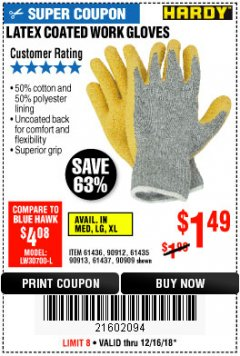 Harbor Freight Coupon HARDY LATEX COATED WORK GLOVES Lot No. 90909/61436/90912/61435/90913/61437 Expired: 12/16/18 - $1.49