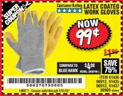 Harbor Freight Coupon HARDY LATEX COATED WORK GLOVES Lot No. 90909/61436/90912/61435/90913/61437 Expired: 1/12/19 - $0.99