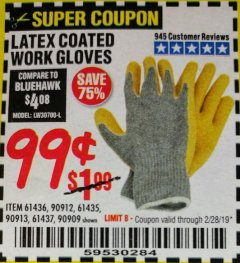 Harbor Freight Coupon HARDY LATEX COATED WORK GLOVES Lot No. 90909/61436/90912/61435/90913/61437 Expired: 2/28/19 - $0.99