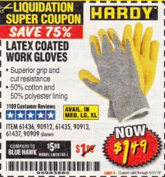 Harbor Freight Coupon HARDY LATEX COATED WORK GLOVES Lot No. 90909/61436/90912/61435/90913/61437 Expired: 5/31/19 - $1.49