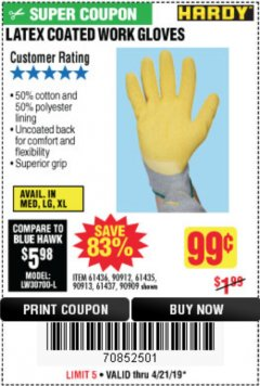 Harbor Freight Coupon HARDY LATEX COATED WORK GLOVES Lot No. 90909/61436/90912/61435/90913/61437 Expired: 4/21/19 - $0.99