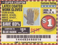 Harbor Freight Coupon HARDY LATEX COATED WORK GLOVES Lot No. 90909/61436/90912/61435/90913/61437 Expired: 7/27/19 - $1