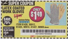 Harbor Freight Coupon HARDY LATEX COATED WORK GLOVES Lot No. 90909/61436/90912/61435/90913/61437 Expired: 11/7/19 - $1.49