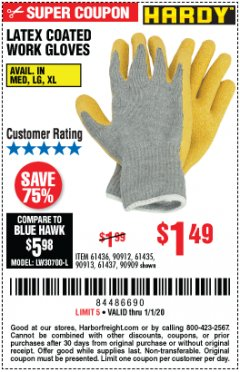 Harbor Freight Coupon HARDY LATEX COATED WORK GLOVES Lot No. 90909/61436/90912/61435/90913/61437 Expired: 1/1/20 - $1.49