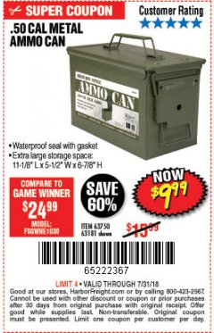 Harbor Freight Coupon .50 CAL METAL AMMO CAN Lot No. 63750/56810/63181 Expired: 7/31/18 - $9.99