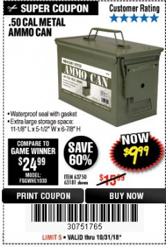 Harbor Freight Coupon .50 CAL METAL AMMO CAN Lot No. 63750/56810/63181 Expired: 10/31/18 - $9.99