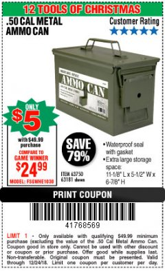 Harbor Freight Coupon .50 CAL METAL AMMO CAN Lot No. 63750/56810/63181 Expired: 12/24/18 - $5