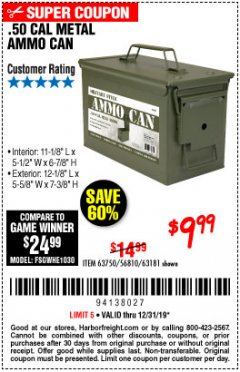 Harbor Freight Coupon .50 CAL METAL AMMO CAN Lot No. 63750/56810/63181 Expired: 12/31/19 - $9.99