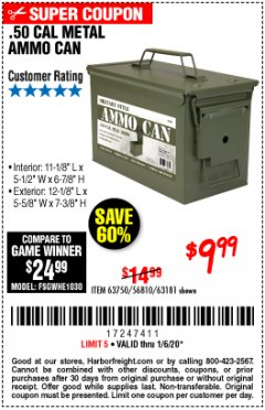 Harbor Freight Coupon .50 CAL METAL AMMO CAN Lot No. 63750/56810/63181 Expired: 1/6/20 - $9.99